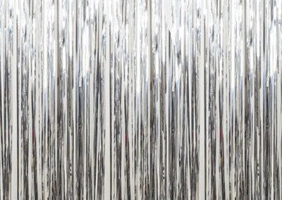 silver mylar curtain
